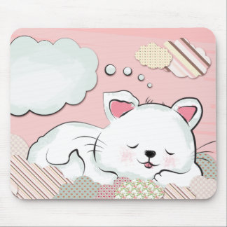 Cat Dreams with textures painted clouds Mousepad