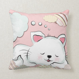 Cat Dreams with textures painted clouds Pillows