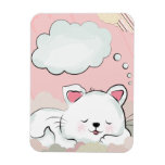Cat Dreams with textures painted clouds Flexible Magnets
