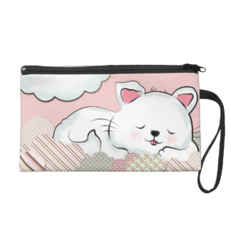 Cat Dreams with textures painted clouds Wristlet Purses