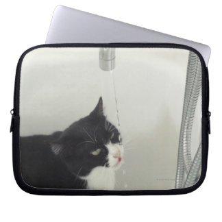 Cat Drinking Water Dripping From A Tap Computer Sleeve