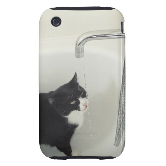 Cat Drinking Water Dripping From A Tap Tough iPhone 3 Case