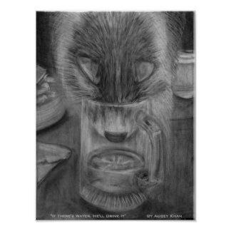 Cat Drinking Water Original Charcoal Drawing Poster