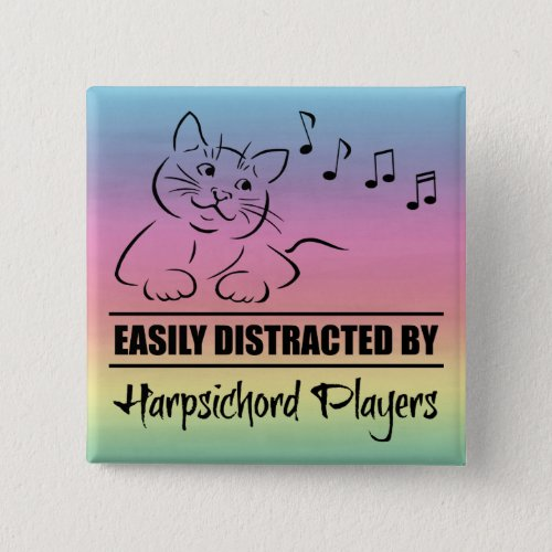 Cat Easily Distracted by Harpsichord Players Music Notes Rainbow 2-inch Square Button