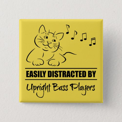 Curious Cat Easily Distracted by Upright Bass Players Music Notes 2-inch Square Button