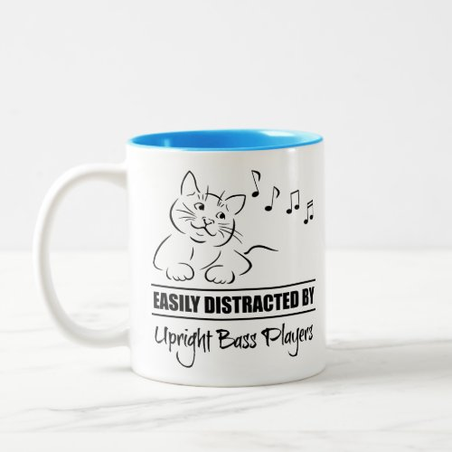 Curious Cat Easily Distracted by Upright Bass Players Music Notes Two-Tone Coffee Mug