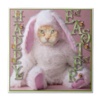 Cat Easter Bunny Claude Tile