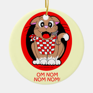Cat eating mouse - om nom nom nom! ceramic ornament