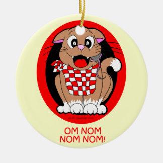 Cat eating mouse - om nom nom nom! ceramic ornament