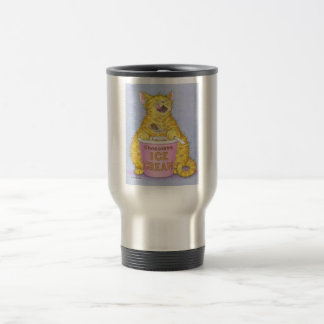 CAT eats ice cream 15 Oz Stainless Steel Travel Mug