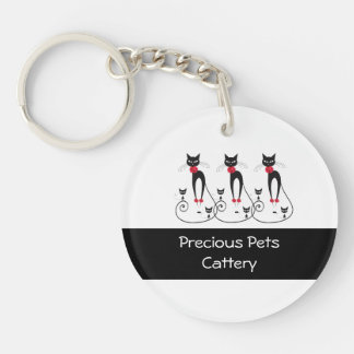 Cat elegance PERSONALIZE Double-Sided Round Acrylic Keychain
