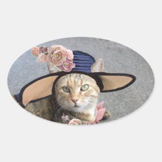 CAT ELEGANTE CON el GORRA GRANDE de la DIVA, Colcomanias Oval Personalizadas