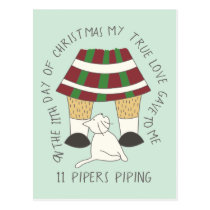 Cat Eleventh Day 11 Pipers Piping Christmas Postcard