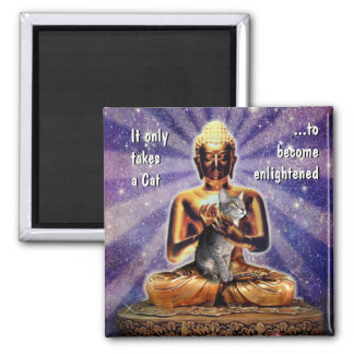 Cat Enlightenment 2 Inch Square Magnet