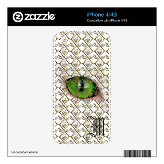 Cat Eye Girly Monogram Cute Eyeball Vintage Floral Decals For iPhone 4S