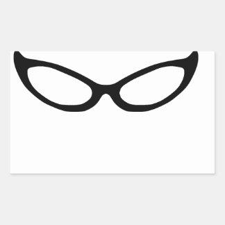 Cat Eye Glasses Rectangular Sticker
