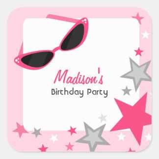 Cat Eye Sunglasses & Stars Pink Birthday Party Square Sticker