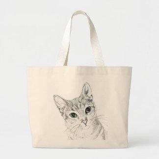 Cat Eyes A Pencil Drawing Large Tote Bag