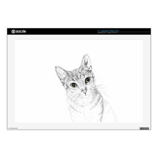 """Cat Eyes A Pencil Drawing Decal For 17"""" Laptop"""