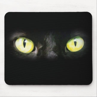 Cat Eyes, Black and Yellow Stare Mousepad