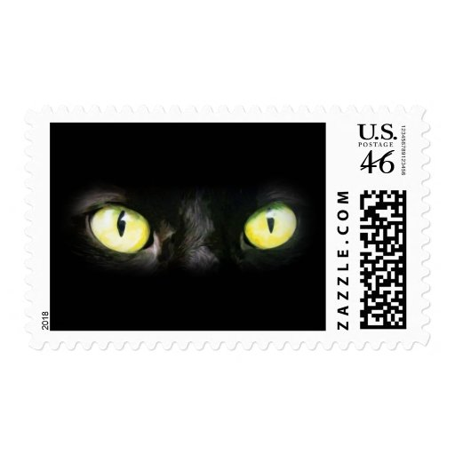 Cat Eyes, Black and Yellow Stare Stamp