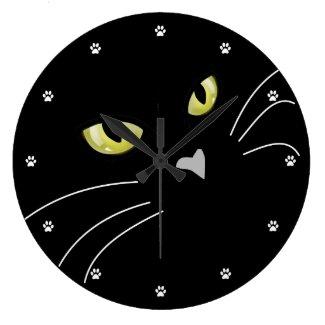 Cat Eyes Cat Lover Elegant Wall Clock Black