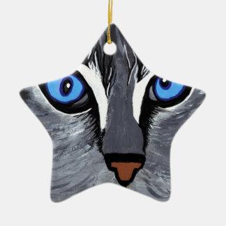 cat eyes gorgeous blue ceramic ornament