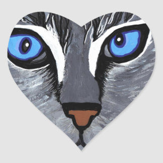 cat eyes gorgeous blue heart sticker