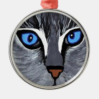 cat eyes gorgeous blue metal ornament