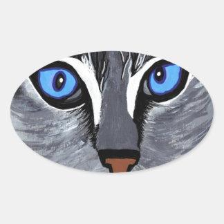 cat eyes gorgeous blue oval sticker