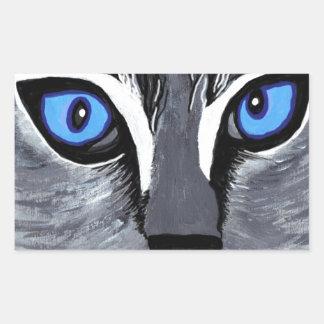 cat eyes gorgeous blue rectangular sticker