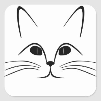 cat face  black and white square sticker