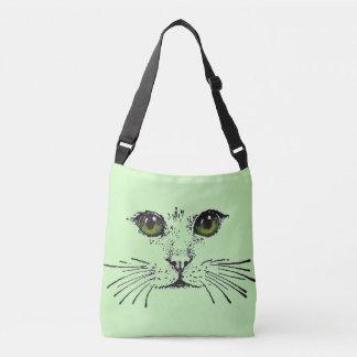 Cat Face Black Drawing Green Yellow Eyes Crossbody Bag