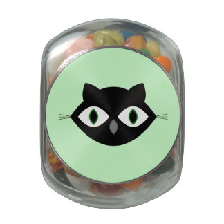 Cat Face Glass Candy Jars