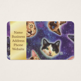 cat face - cat - funny cats - cat space business card