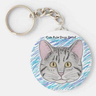 Cat Face Cats Rule Dogs Drool Key Chain