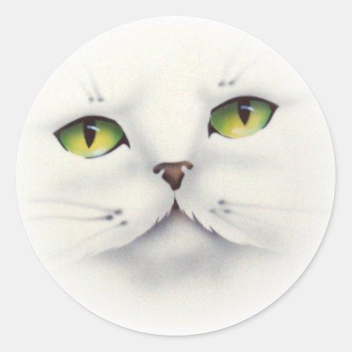 cat face classic round sticker