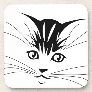 Cat Face Drawing Drink Coaster