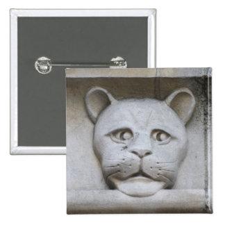 Cat-face gargoyle button badge