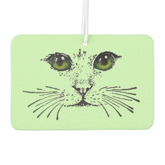 Cat Face Green Eyes Whiskers Air Freshener
