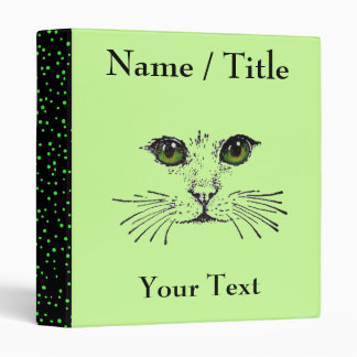 Cat Face Green Eyes Whiskers Binder