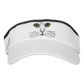 Cat Face Green Eyes Whiskers Headsweats Visor