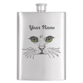 Cat Face Green Eyes Whiskers Hip Flask