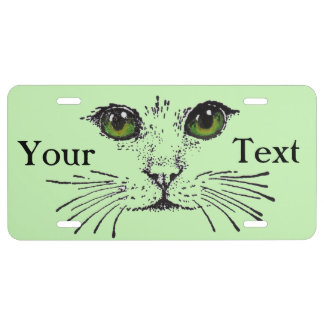 Cat Face Green Eyes Whiskers License Plate