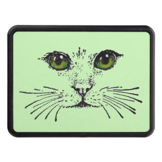 Cat Face Green Eyes Whiskers Trailer Hitch Cover
