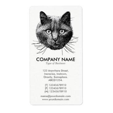 Professional Business Cat Face Label
