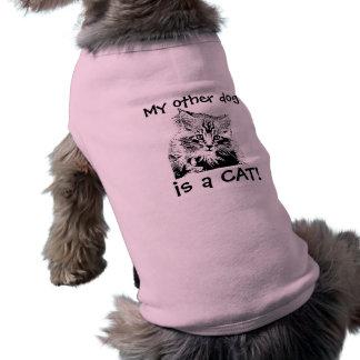 Cat Face on Dog tee shirt
