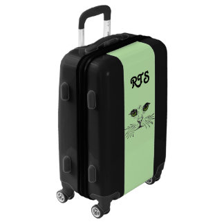 Cat Face on Green Long whiskers Vibrant Eyes Luggage