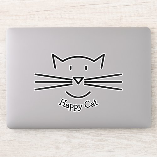 Cat Face Outline Whiskers Design Contour Sticker