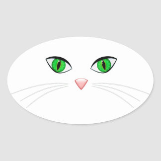 Cat Face Oval Sticker